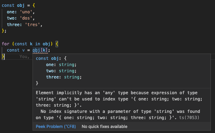 How to iterate over objects in TypeScript